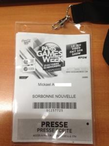 Le fameux Pass Presse.