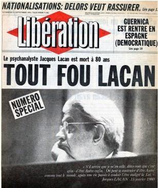 Libération Tout fou Lacan, September 11, 1981 (Image source La République des livres)